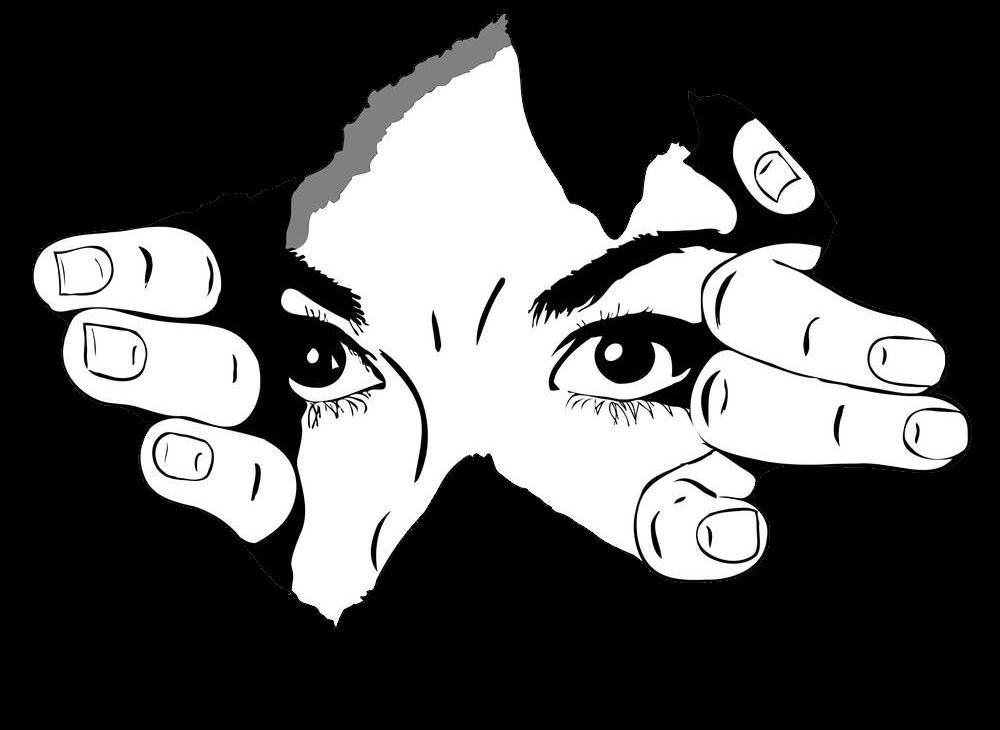 Eine Frau schaut aus einem Loch herau