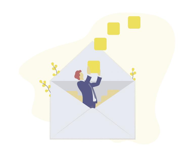 Ein Mann kommt aus einem Brief raus
